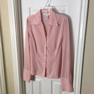 Pink Blouse with Black Pinstripes